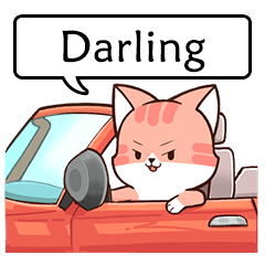 "Name sticker of Chacha cat ""Darling"""
